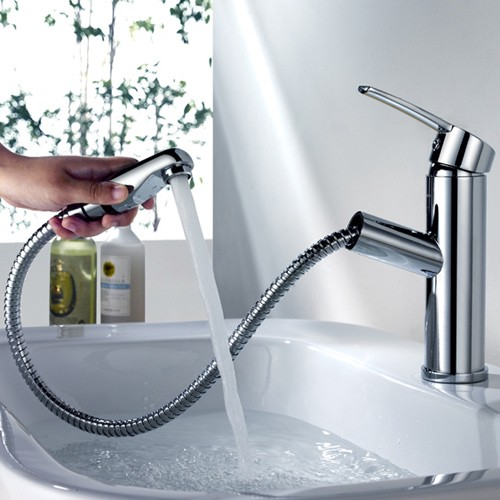 Review Chaf Single Handle Lavatory Bathroom Sink Faucet Pullout Spray