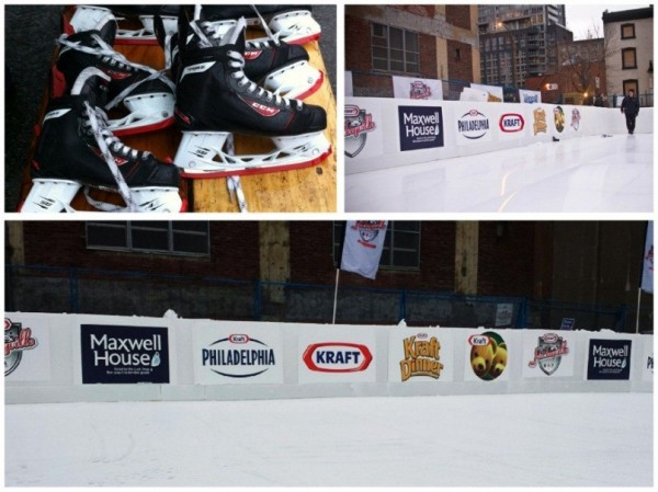 The pop-up hockey rink and skates are ready for the public as Kraft Hockeyville 2014 launches on November 27, 2014 in Montreal on the site of the historic Victoria Skating Rink.
