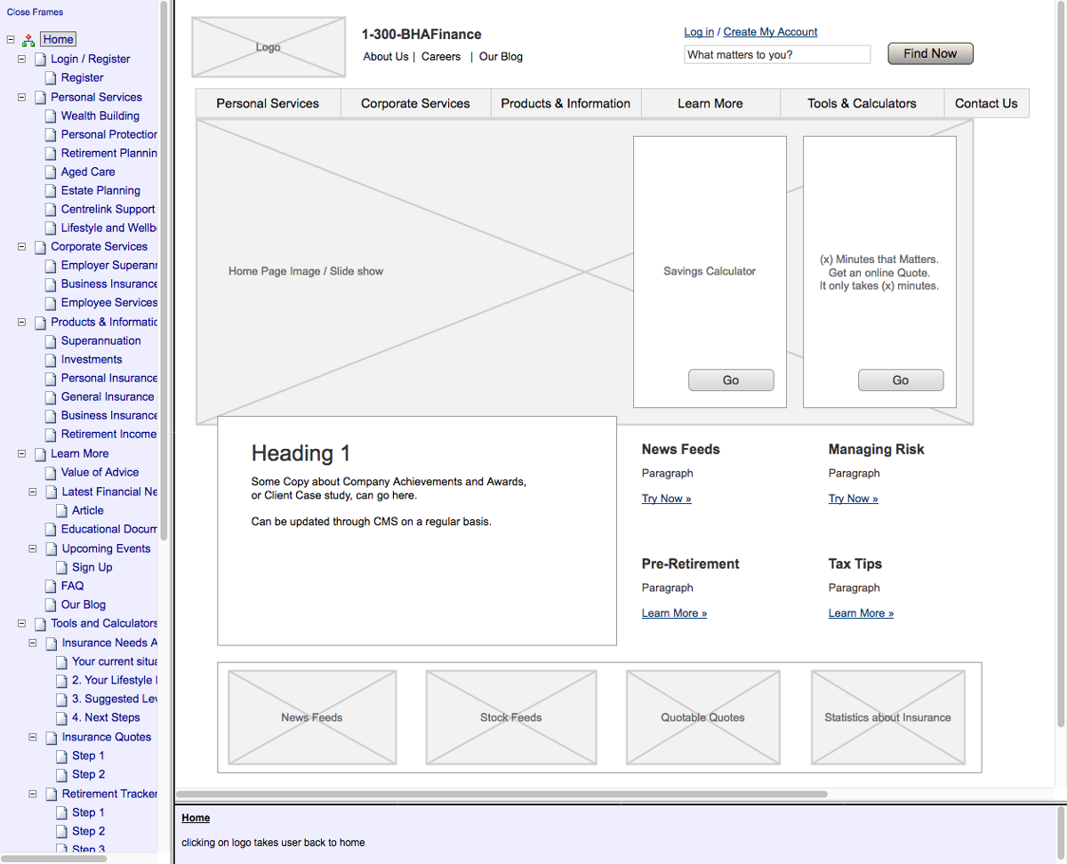 wireframes are great in the initial phases of the project you can quickly test your overall creative strategy and you can quickly test usability hypothesis - Wire Frames