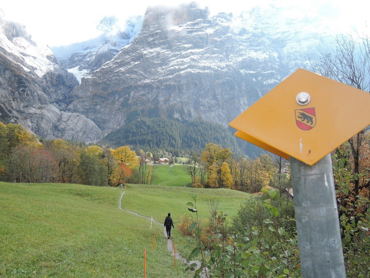 In more remote areas, waymarks show up as painted trail blazes or small metal plates on rocks, trees, fence posts and barns, but all with the same basic color code. Shown here is the white/red code for mountain path, and the standard yellow waymark plates.