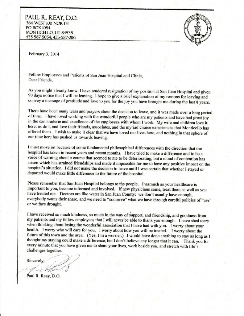 Physician Resignation Letter Sample 96 Images 7 Letter For A Three Doctors  Resign From San Juan Hospital Hospital In Trouble Job Relocation Letter  From ...