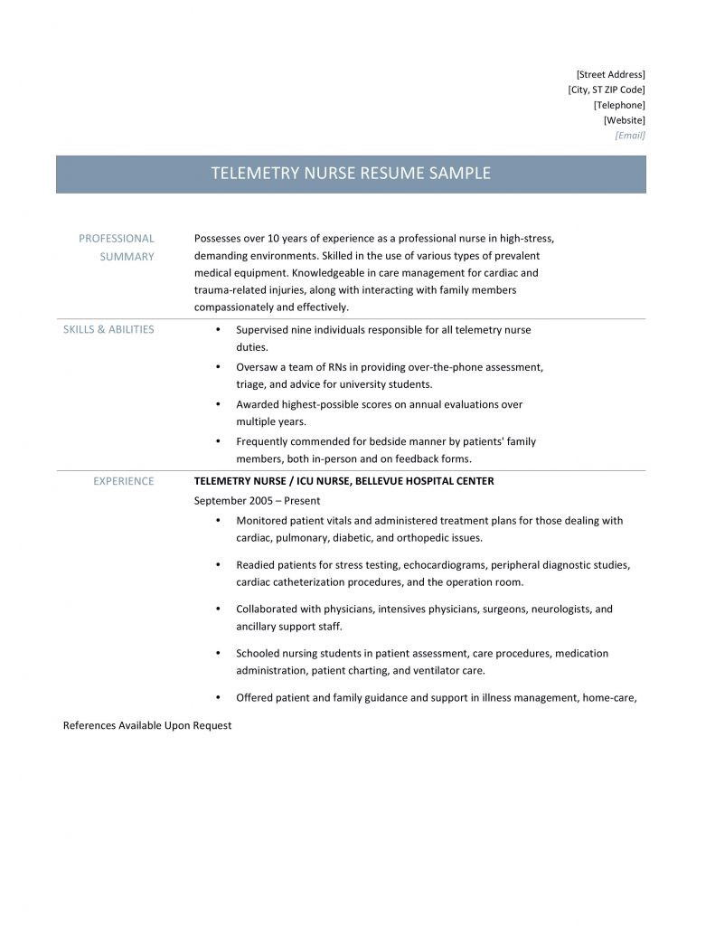 telemetry nurse resume samples tips and templates  u2013 online