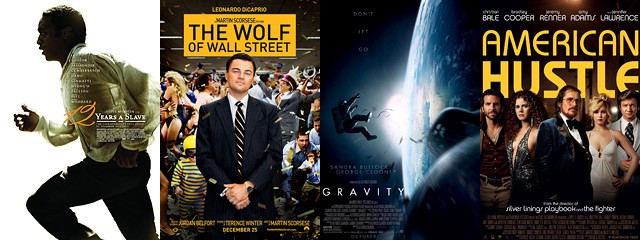 Carteles de '12 Years a Slave', 'The Wolf of Wall Street', 'Gravity' y 'American Hustle', candidatas a los Oscar 2014.
