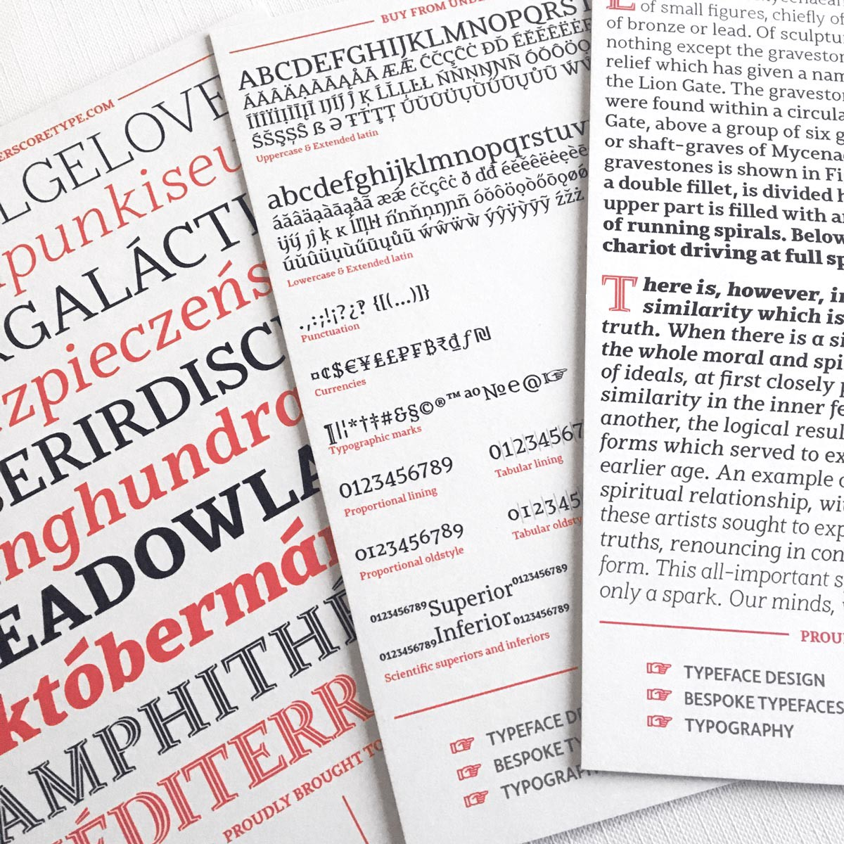 Jozef typeface family speciman cards