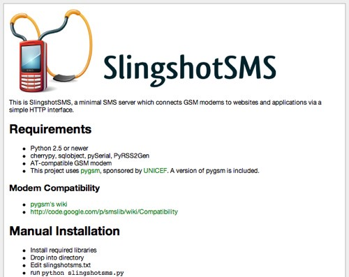 SlingshotSMS 0 2 Released: Now Providing RSS 2 0 and Modem Autodetection