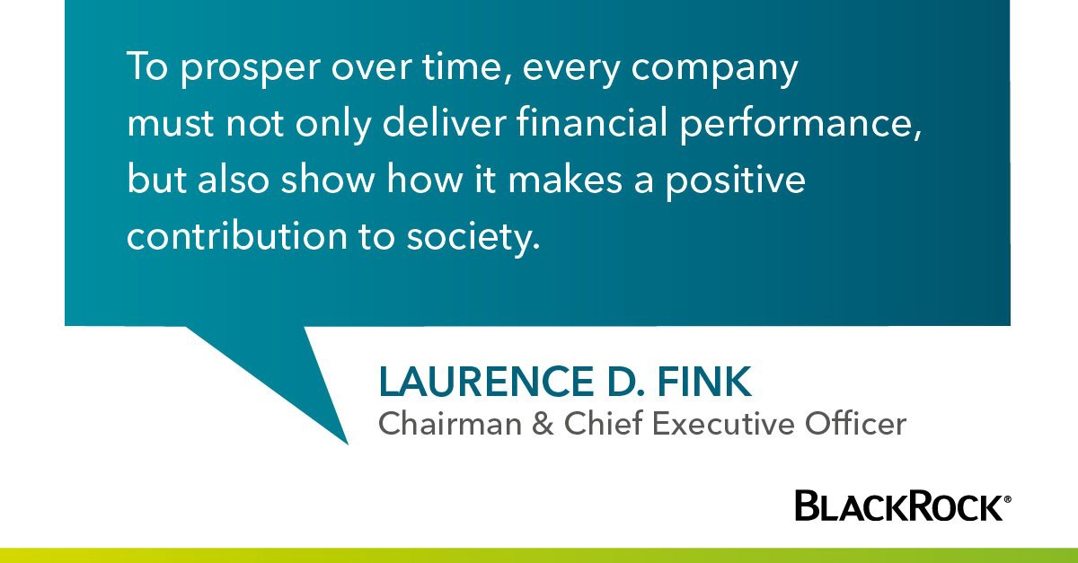 Larry Fink's annual letter to CEOs: A sense of purpose