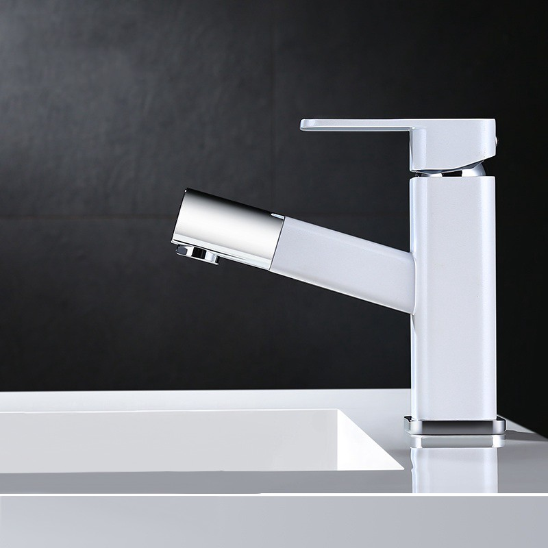 Review Modern 1 Handle Pull Out Spray Bathroom Sink Faucet Whitechrome