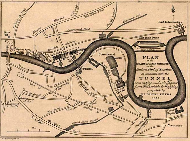 Rotherhithe Tunnel Map, 1836