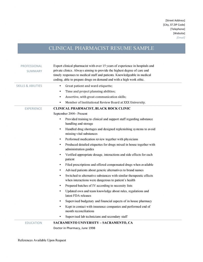 Additional Clinical Pharmacists Resume Tips