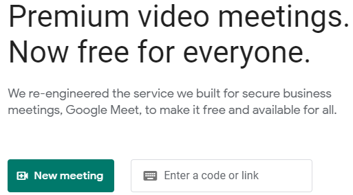 Google Meet Video homepage: New Meeting button at the far left side of the screen.