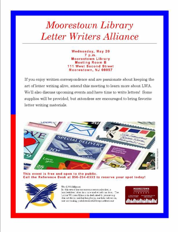 moorestown library hosts letter writers alliance meeting may 20