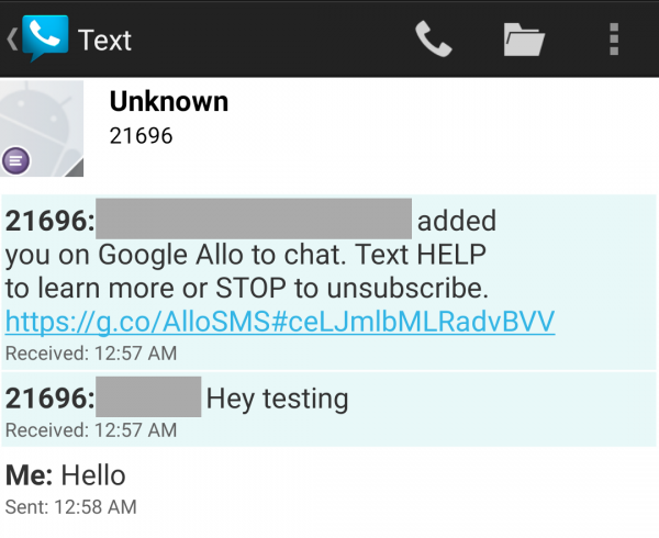 Chatting goes over SMS when Allo is not installed