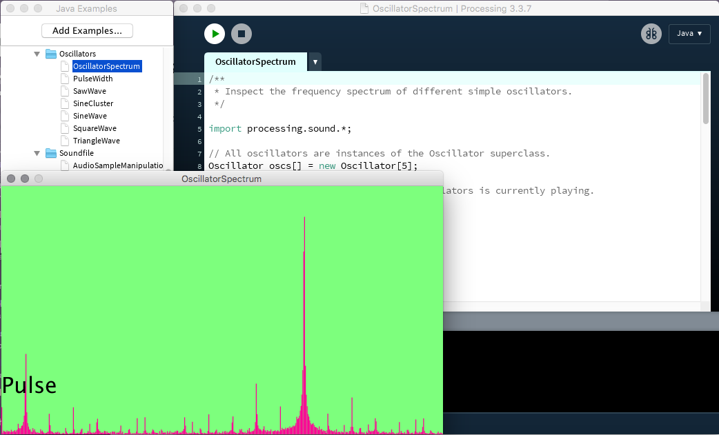 Screenshot of the Processing Sound library in action