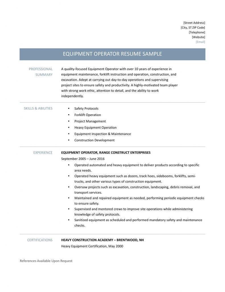 equipment operator resume sample template and job description