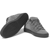 98e09234b621c Balenciaga s patented Arena sneaker appears here in a slick grey suede for  the season. All the great details remain