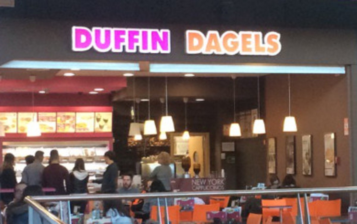The Duffin Dagels chain is a near exact replica of Dunkin Donuts, with just a few menu and name changes differentiating the two recommendations