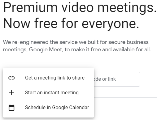 Options once the New meeting button is clicked