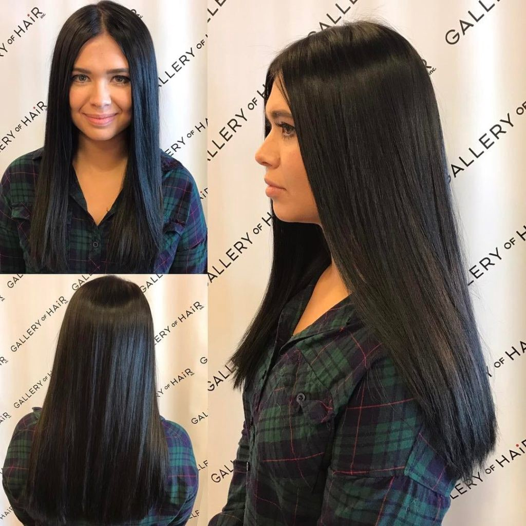 Long Sleek One Length Cut With Textured Ends And Black Color