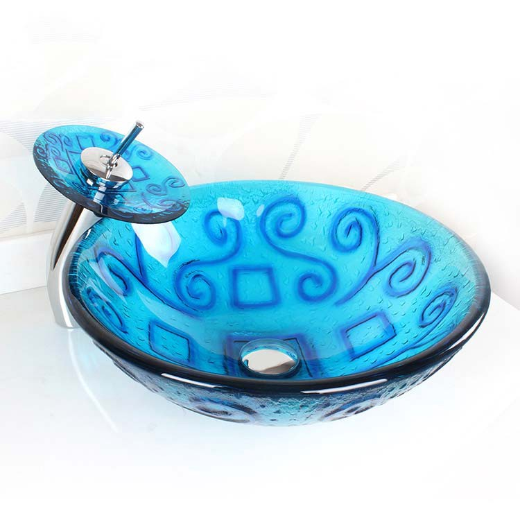 Translucent Blue Swirls Round Glass Vessel Sink Waterfall Faucet Bathroom  Combo Product Description: