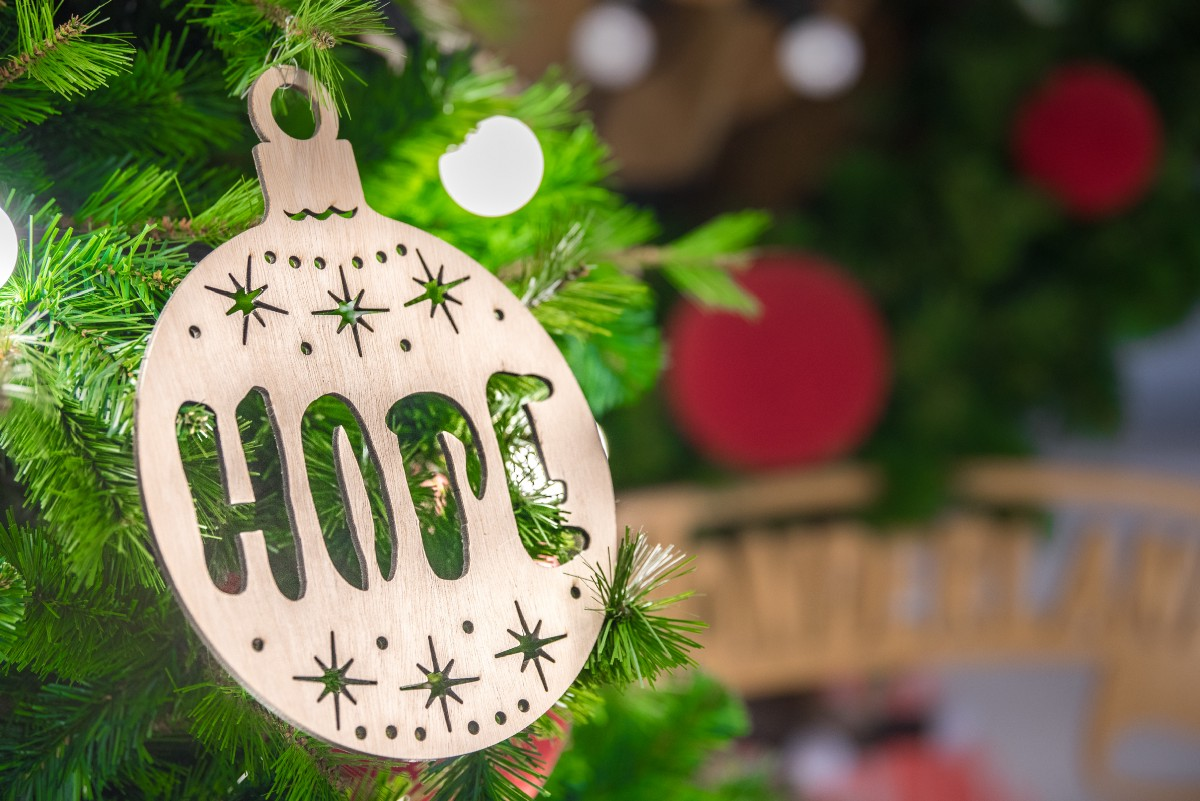 Christmas decorations stating hope