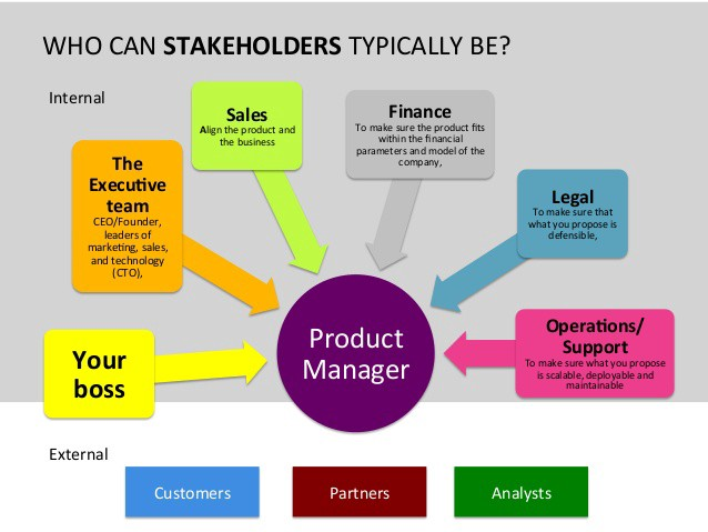 the role of internal and external stakeholder Internal stakeholders are employees or teams in your organization who have an interest or concern in a strategy, plan, program, project, product or process the following are common examples of internal stakeholders.