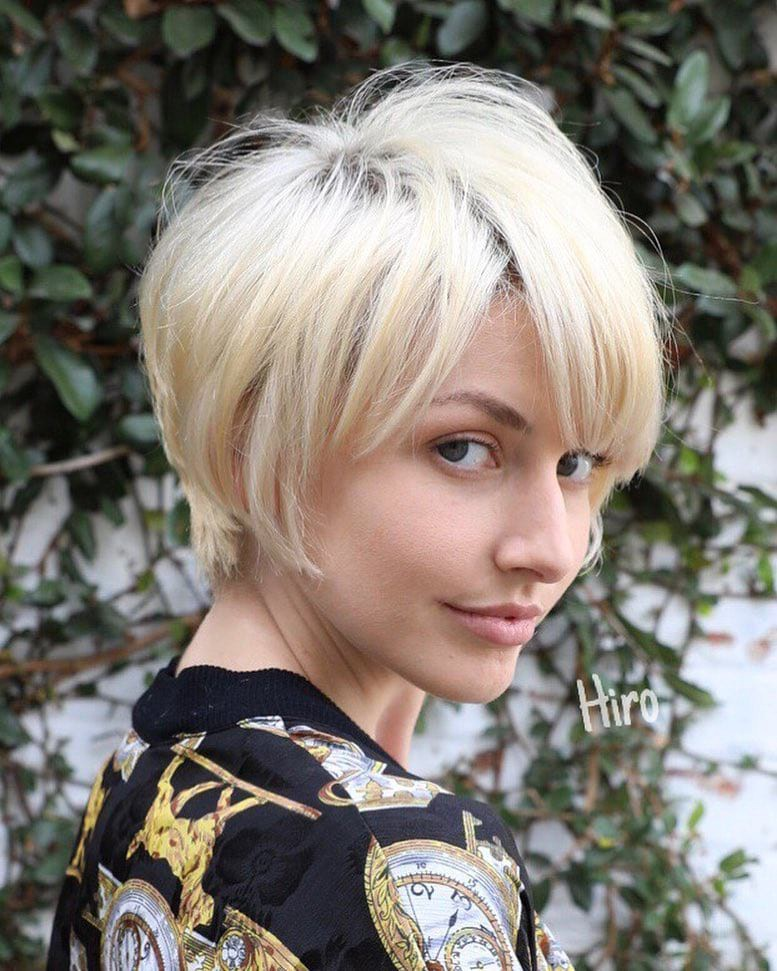 Layered Platinum Blonde Pixie With Messy Textured Fringe And Side