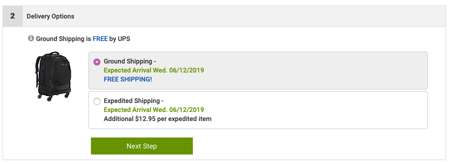 Screenshot of the shipping section of a form, where ground shipping will arrive June 12, or for thirteen dollars more expedited shipping will arrive the same date