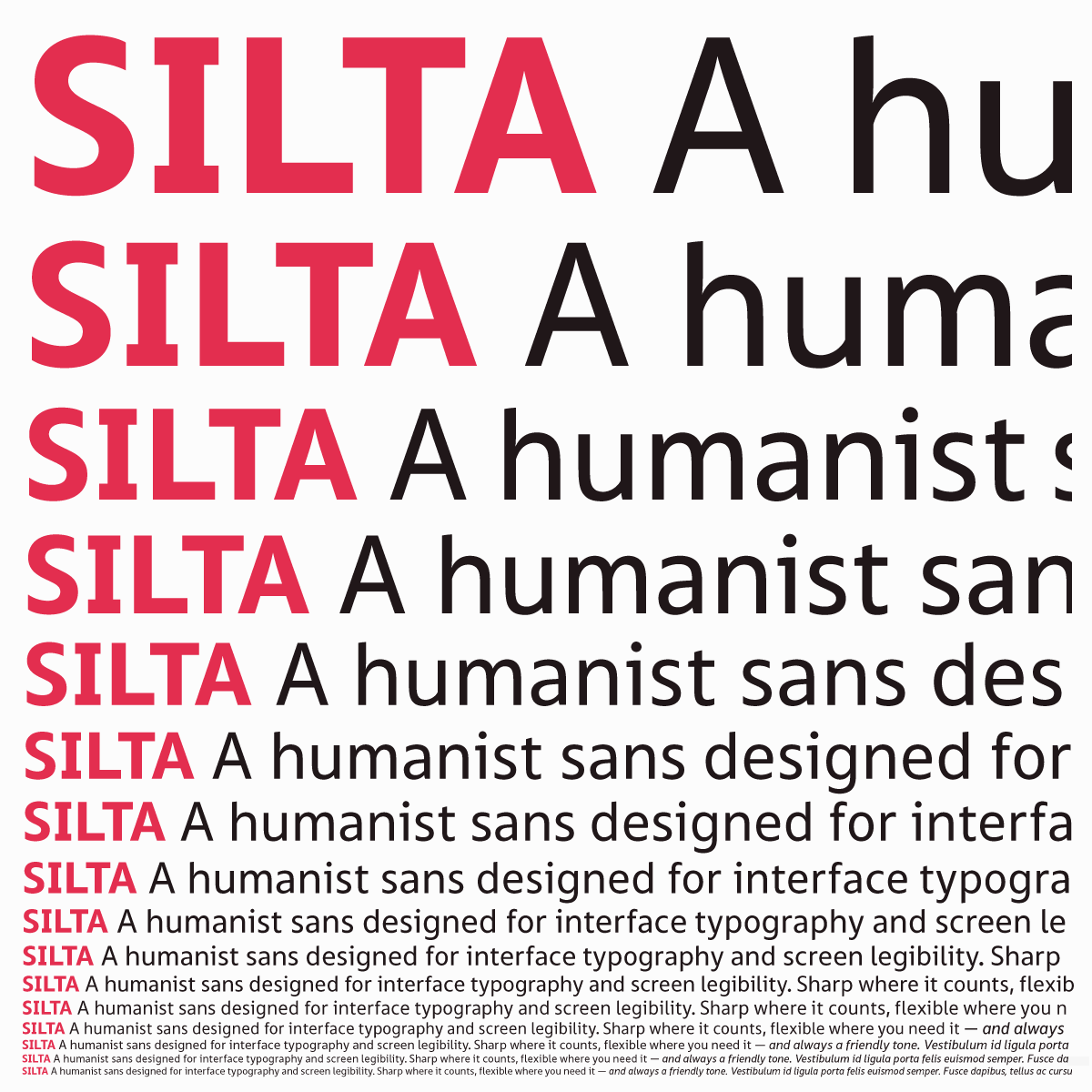 Silta in different sizes, legible down to smallest text on screen