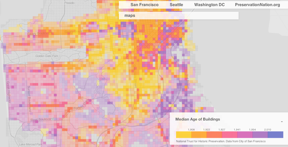 Map Check Out The Age Of The Buildings In Your Neighborhood The