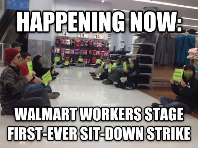 Walmart Workers Stage First Ever Sit In Strike Thinkprogress