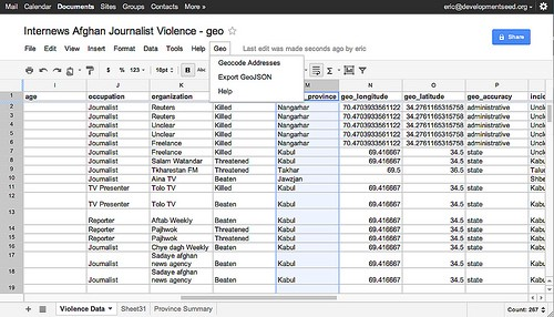 Mapping A Google Doc Spreadsheet Points Of Interest