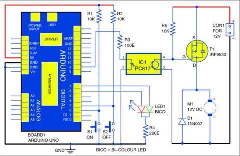 Dc motor starter guide using arduino uno board tomson electronics below shown is the circuit diagram of the dc motor starter asfbconference2016 Images
