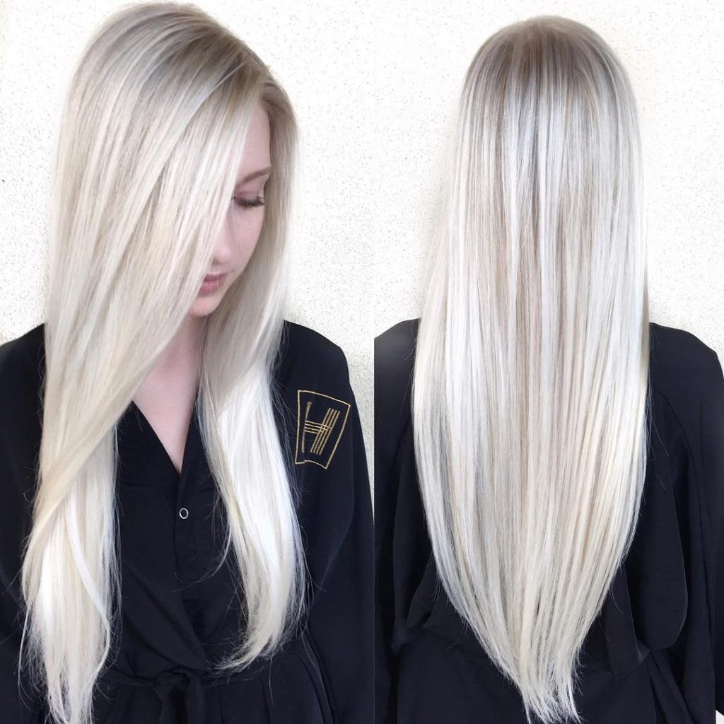 Sleek Platinum Blonde Hair With Side Part And V Cut Layers