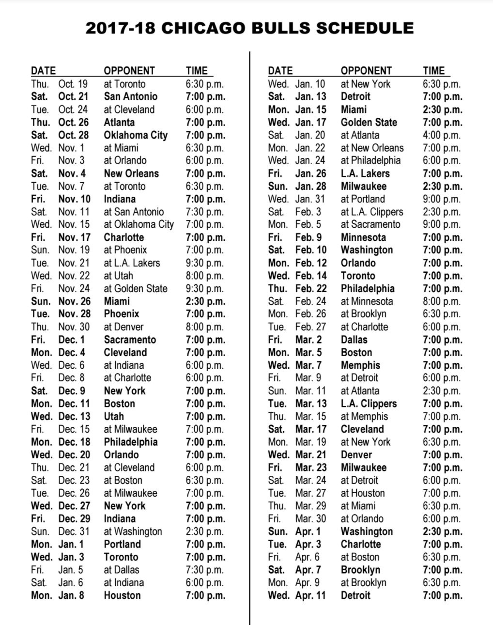 the 2017–2018 nba schedule has arrived – chicago bulls confidential