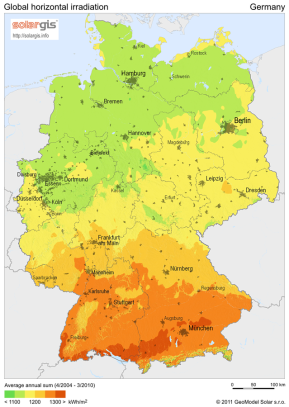 solar irradiation map germany