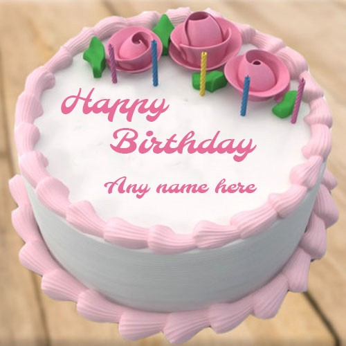 Write Your Name On Rose Flower Birthday Cake
