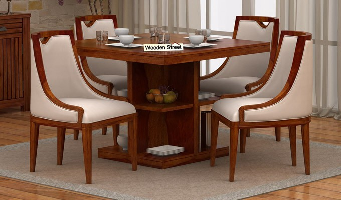 4 Seater Dining Table Sets Are Neither Too Big Nor Small And Offer Utmost Practicality In The Home Besides Many Designs Affixed With Foldable