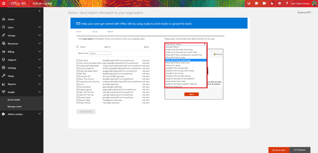 Using the office 365 adoption wizard regarding 365 on the one hand you will find some e mail templates that you can use to make communications around how to use office 365 these e mail templates come from maxwellsz
