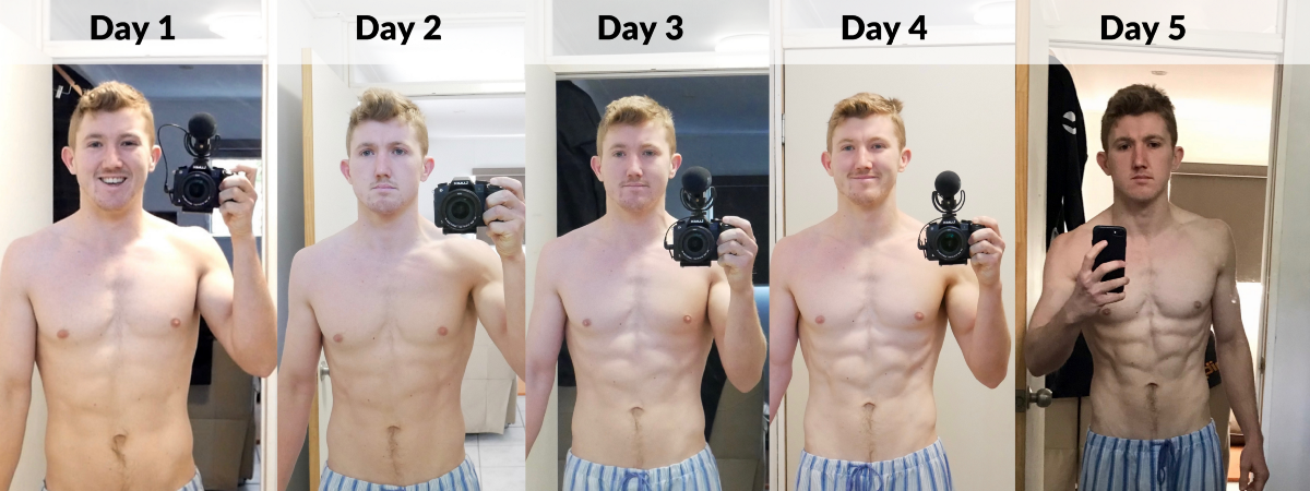 Progress photos in mirror showing changes from day 1 to day 5, after the fast. Day 5 taken with different camera.