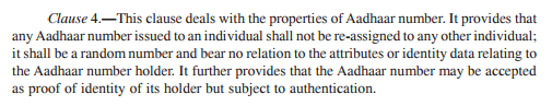 "See last sentence in Aadhaar Bill Clause 4: Aadhaar can be used as proof of identity ""subject to authentication"""
