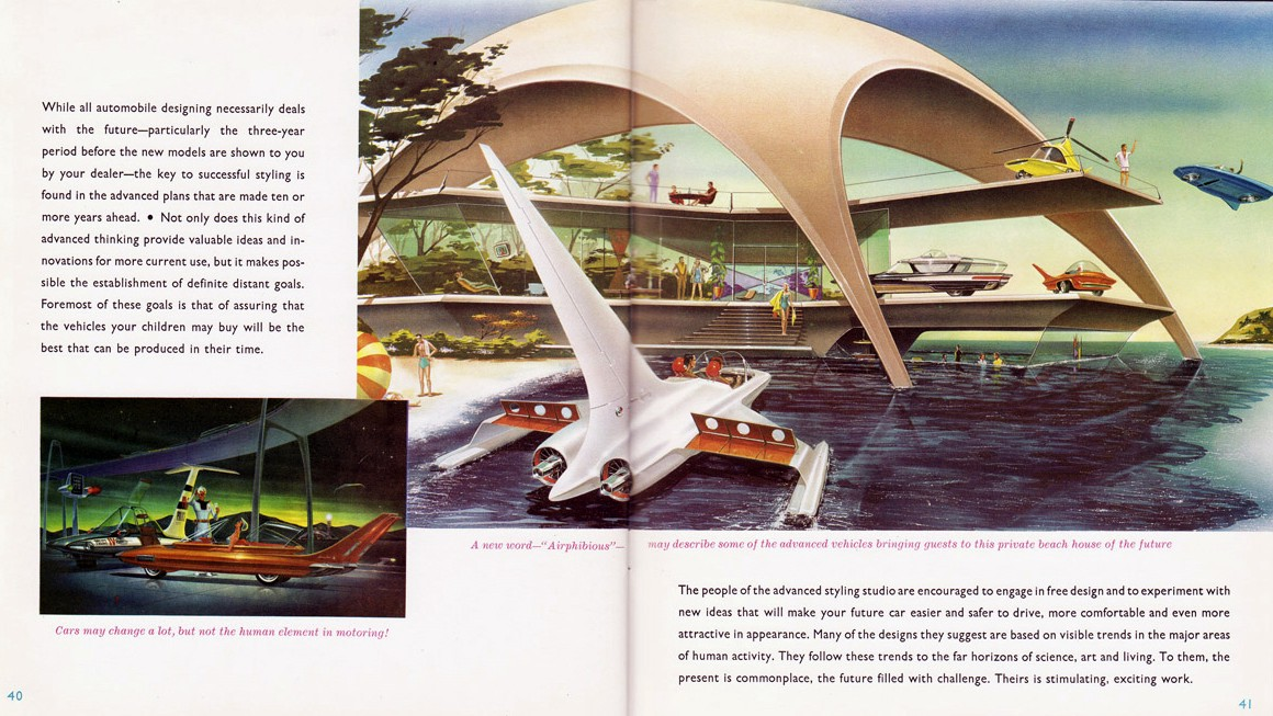 """The private beach house of the future"" with hovering cars, helicopter cars and a new word 'airphibious cars.' Ford brochure, 1957."