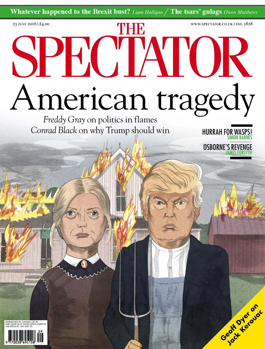 Which Depict Trump With Pitchfork The Speaks To Many Things Here American Gothic Certainly But Also Witch Hunts Rural Life