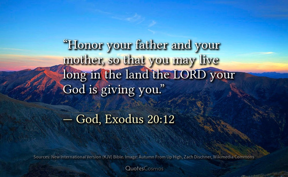 Honor Your Father And Your Mother God Exodus 2012