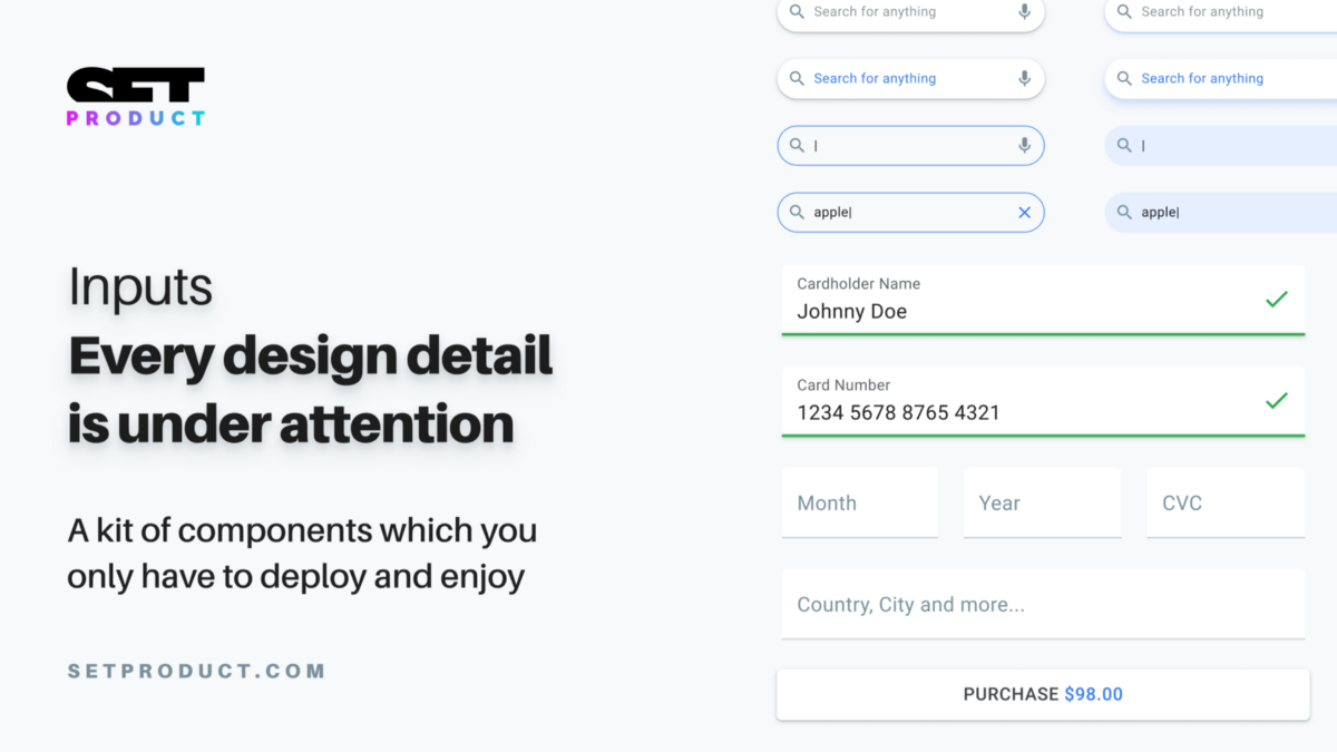 Material UI React Kit  Inputs design in the details
