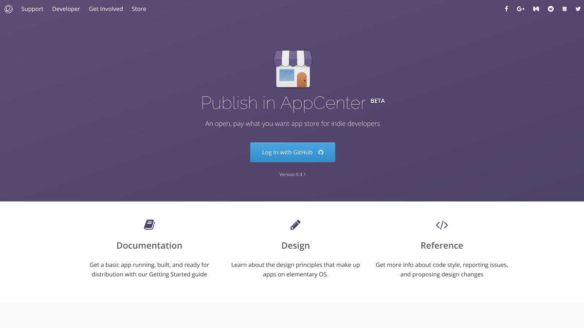 The new Developer page with AppCenter Dashboard
