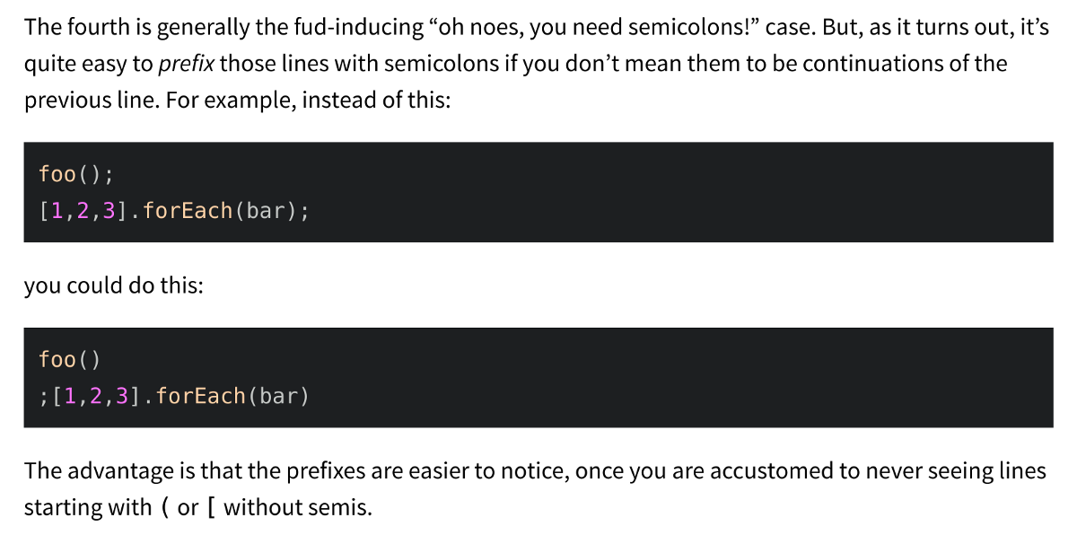 An Open Letter to JavaScript Leaders Regarding No Semicolons