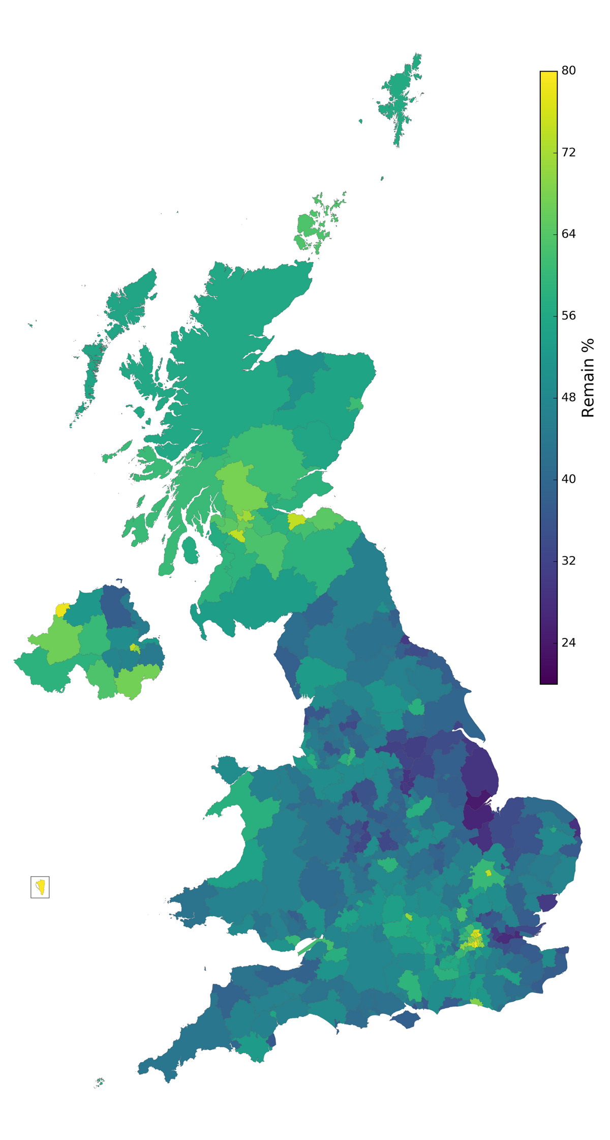 map 1 brexit results plotted using a continuous colourmap from 2080