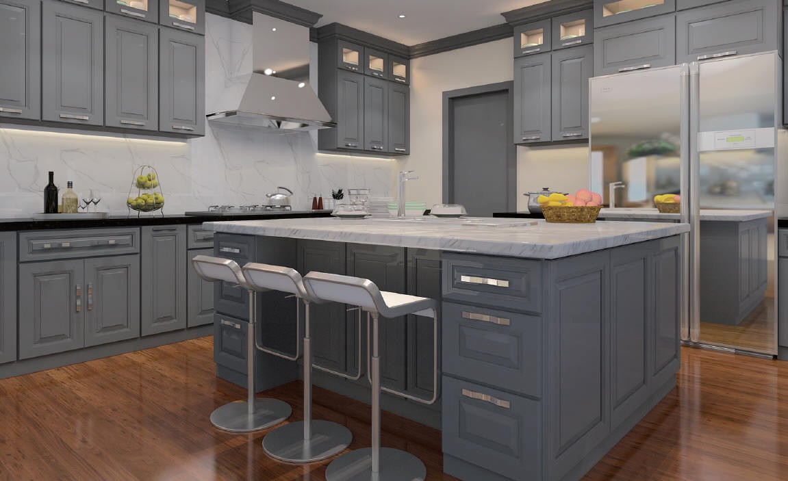 Gray Shaker Kitchen – Four Less Cabinets – Medium