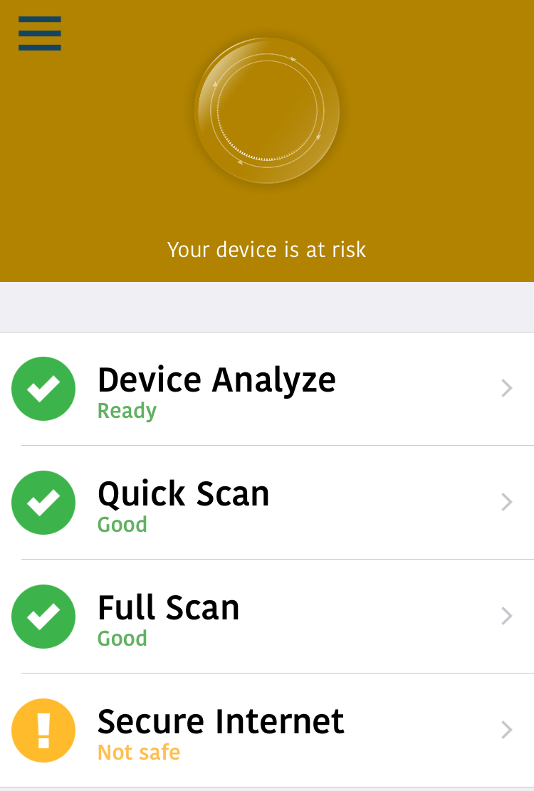 "After Skipping That, The App Tells Me My Device Is At Risk Of Course It  Is It's Also Ready To €�device Analyze"", Quick And Full Scan, And Secure My"
