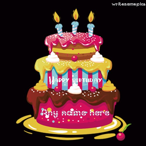 Cake Picture Of Birthday With Burning Candles Happy Wishes Name Pic Free Edit And Share